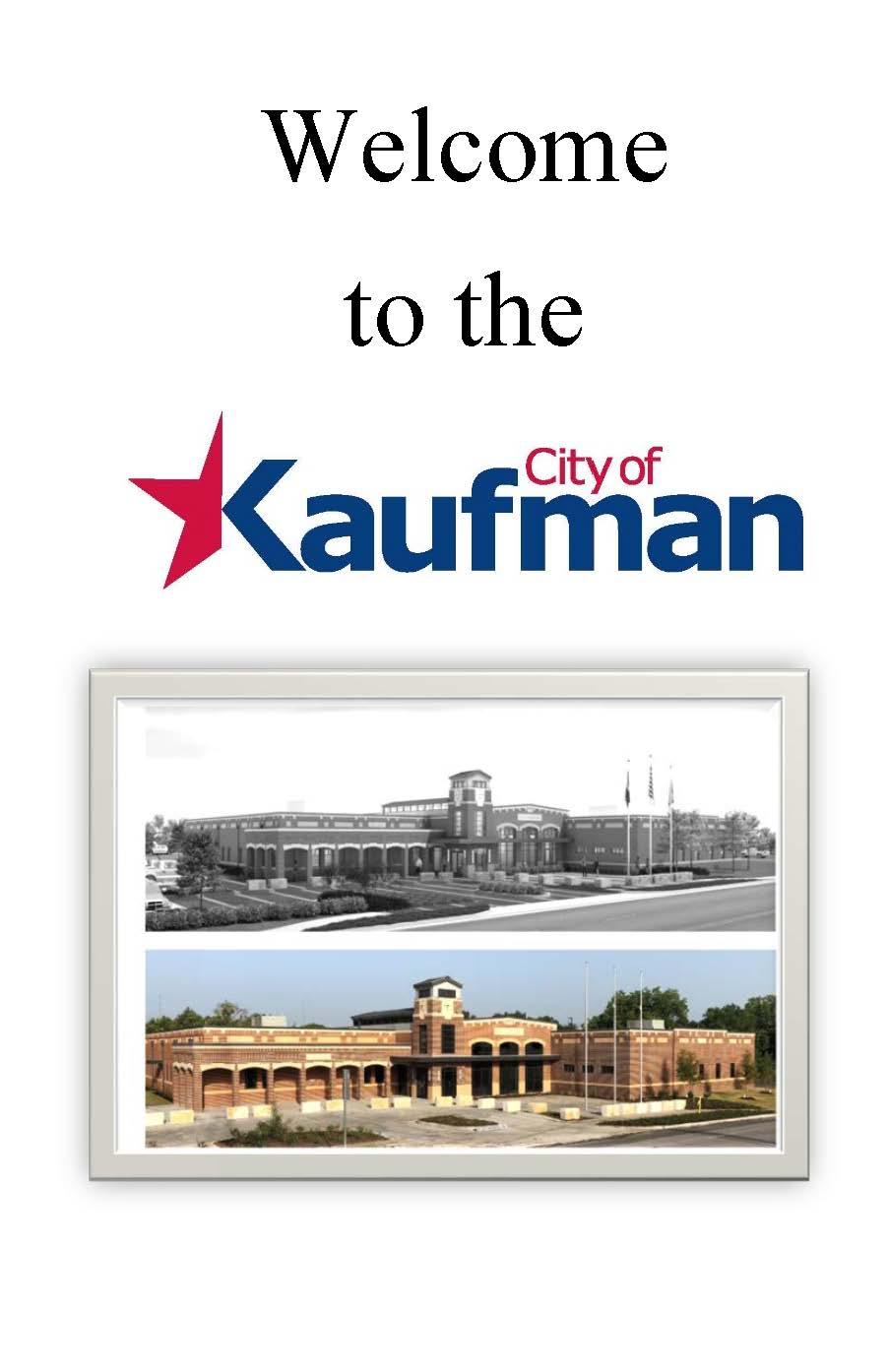 Welcome to Kaufman Booklet Cover Page